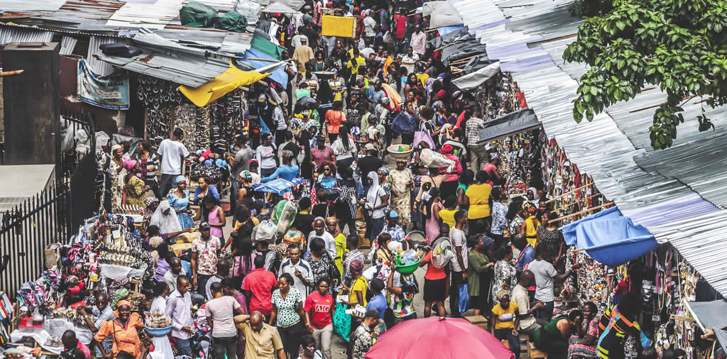 Customers at an african market